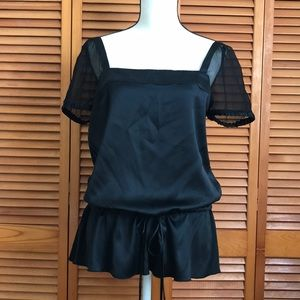 Black, drawstring waist blouse